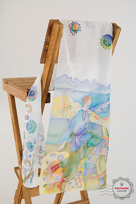 Ukrainski Tantsuristi Hand-painted Batik Silk Scarf