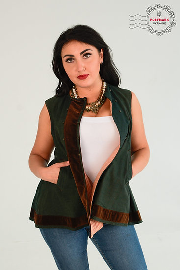 Vintage Kersetka Army Green with Rich Chocolate Velvet Trim