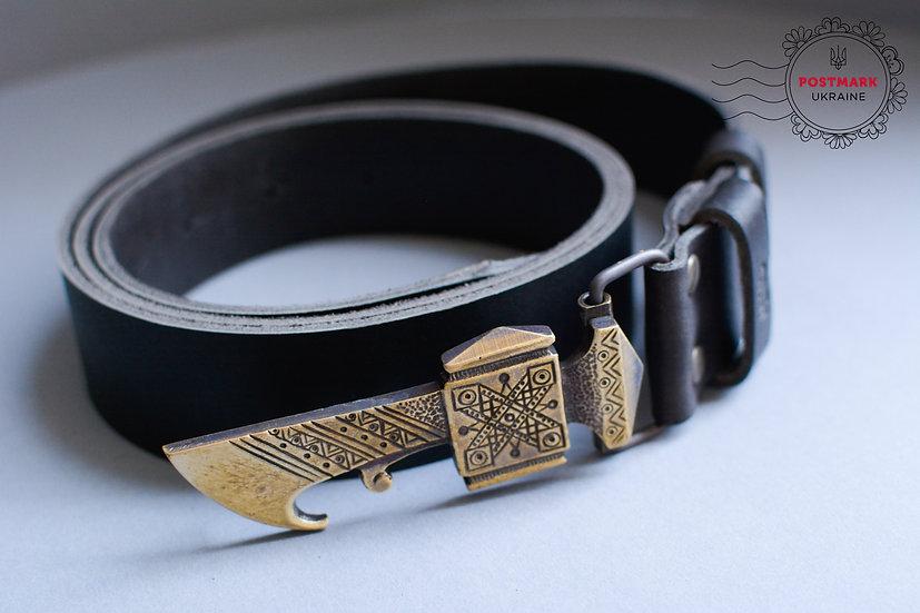 Leather Belt w Metal Hutsul Axe Buckle