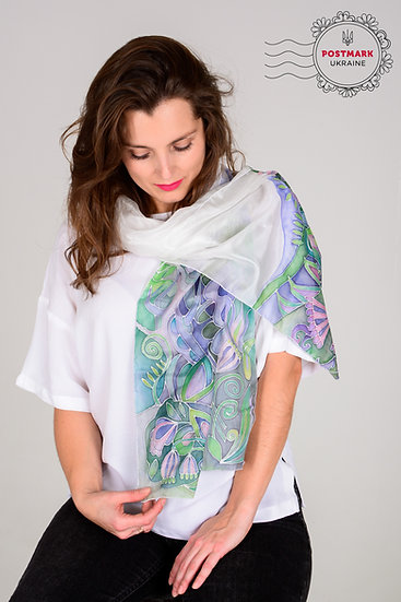 Forest Song Hand-painted Batik Silk Scarf