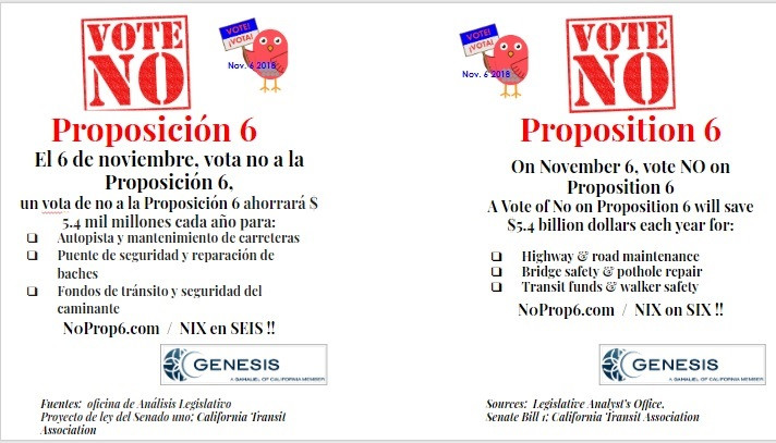 No On Six Flyer spa/eng