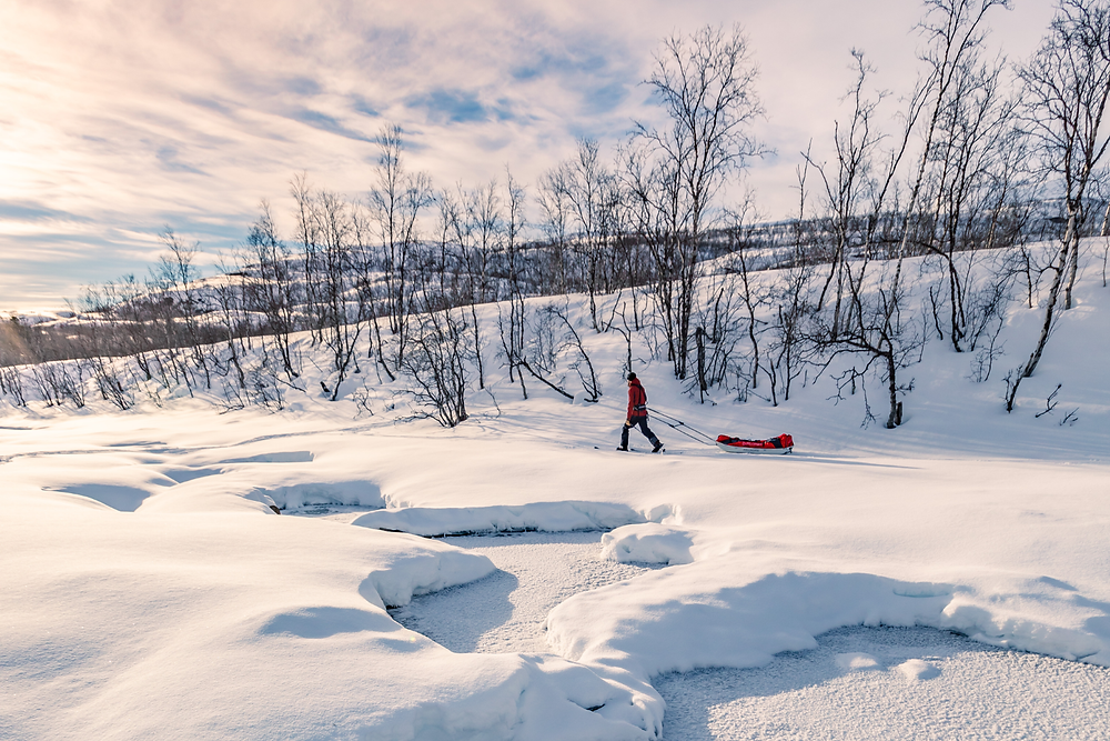 Trekking with a sled