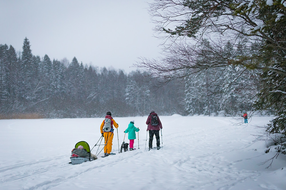 Sliding snowshoeing is a great sport for the whole family