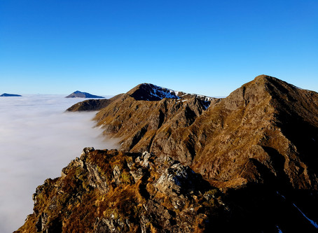 Cloud inverted traverse of the Aonach Eagach Ridge