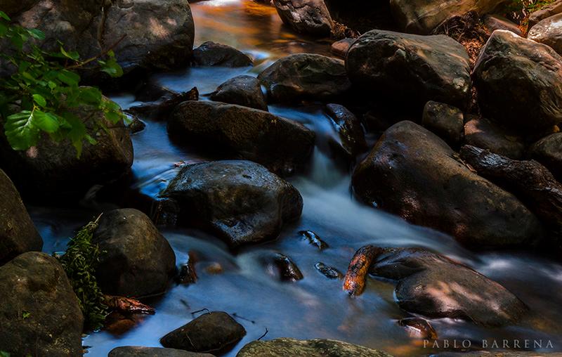 Water stroking rocks