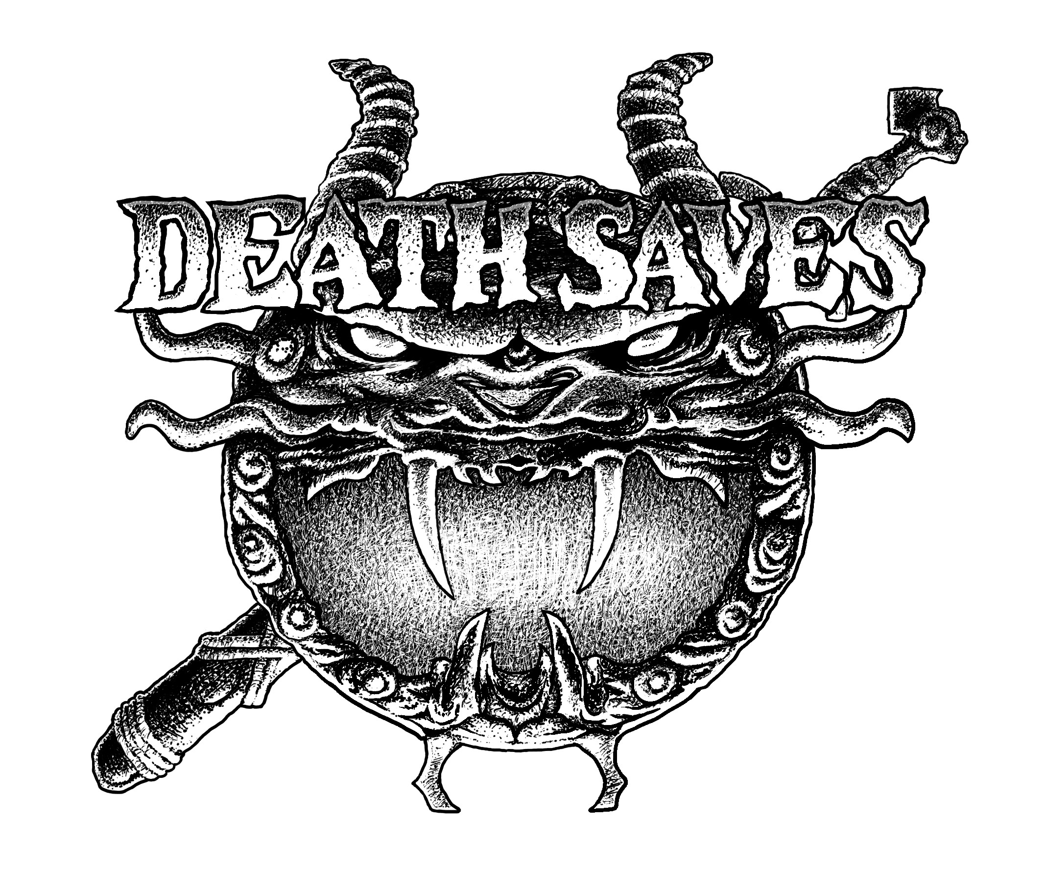 DEATH SAVES cartoon title