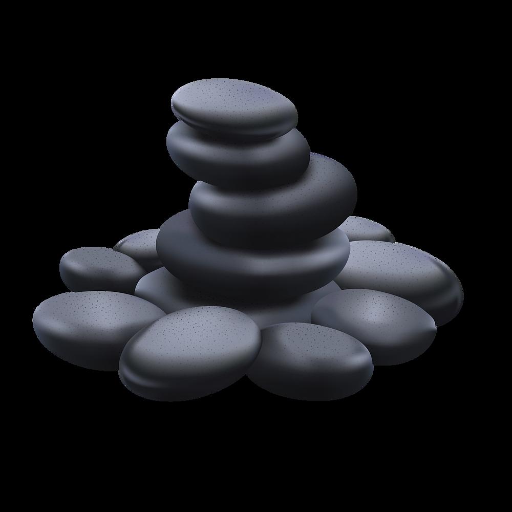 Stack of river rock, hot rock massage