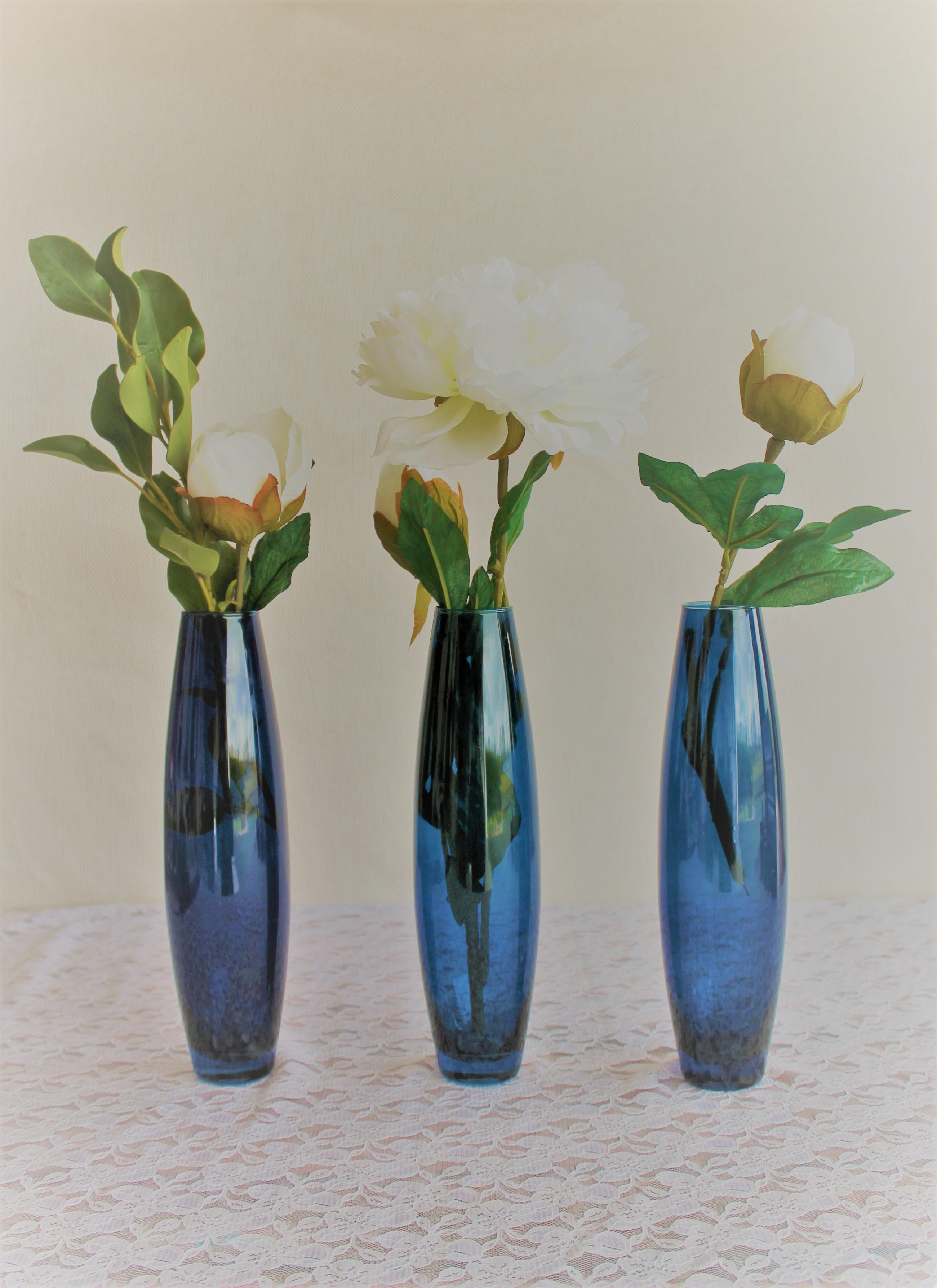 Navy Blue Flute Vase