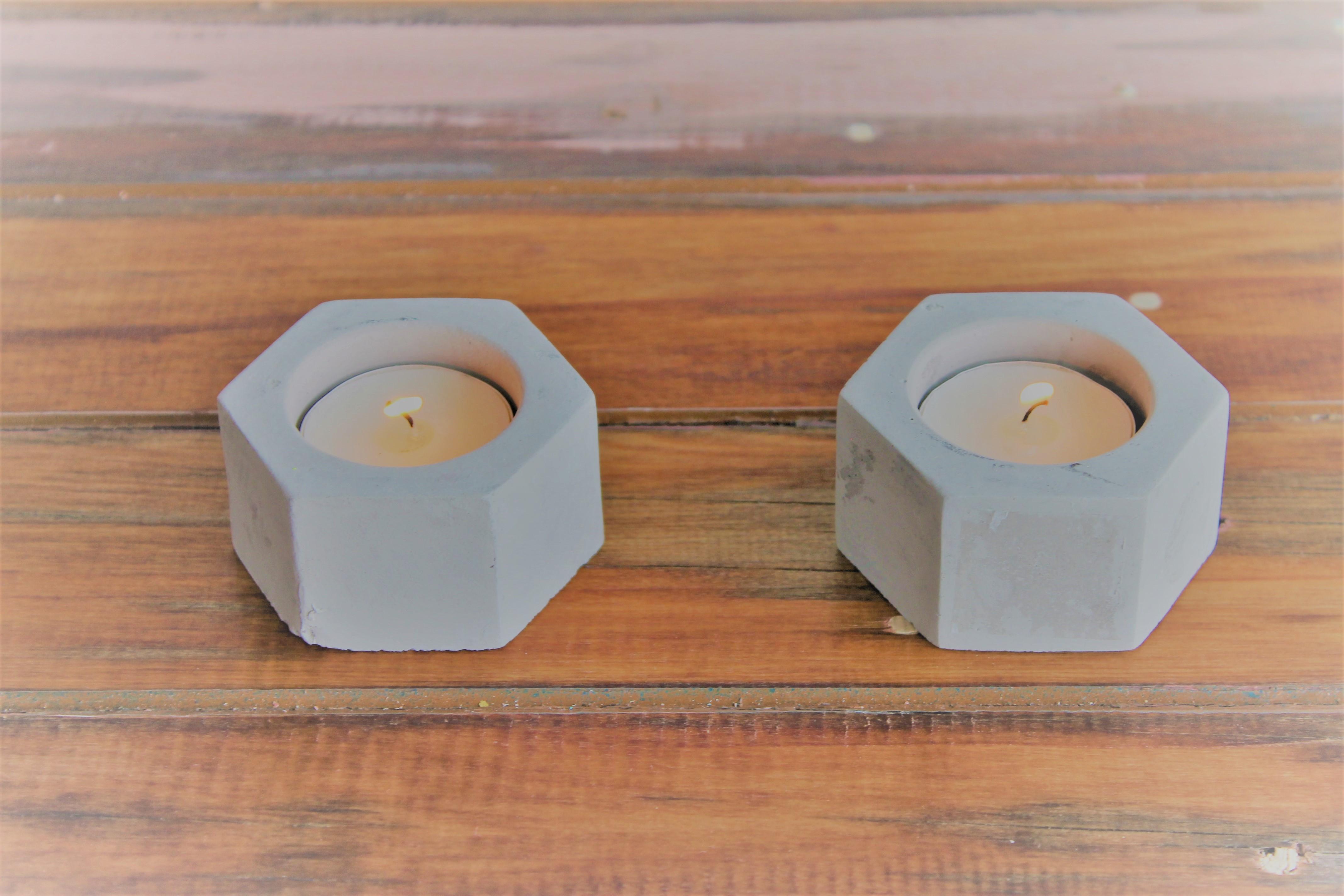 Concrete Hexagon T/Light Holders