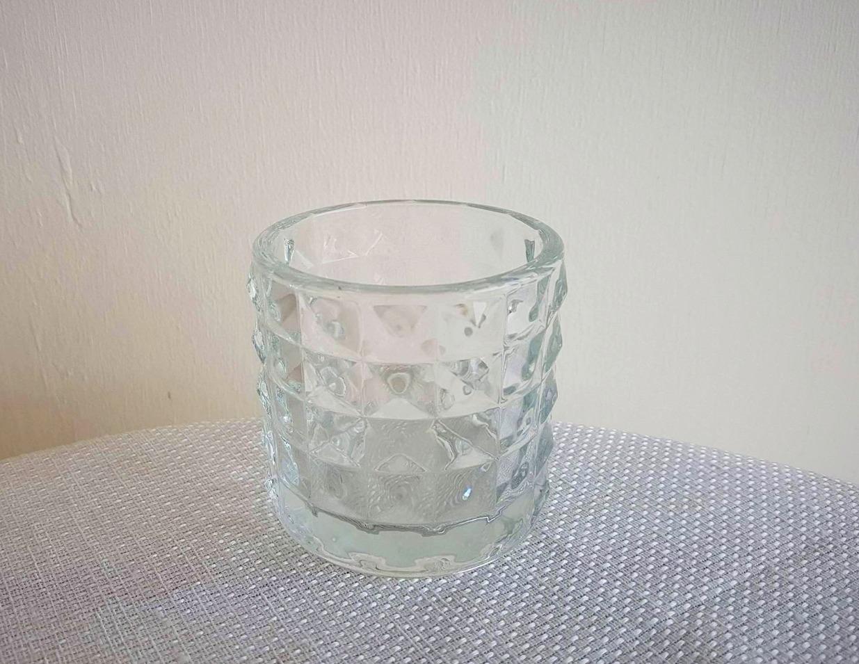 Glass Hexegon T/Light Holder