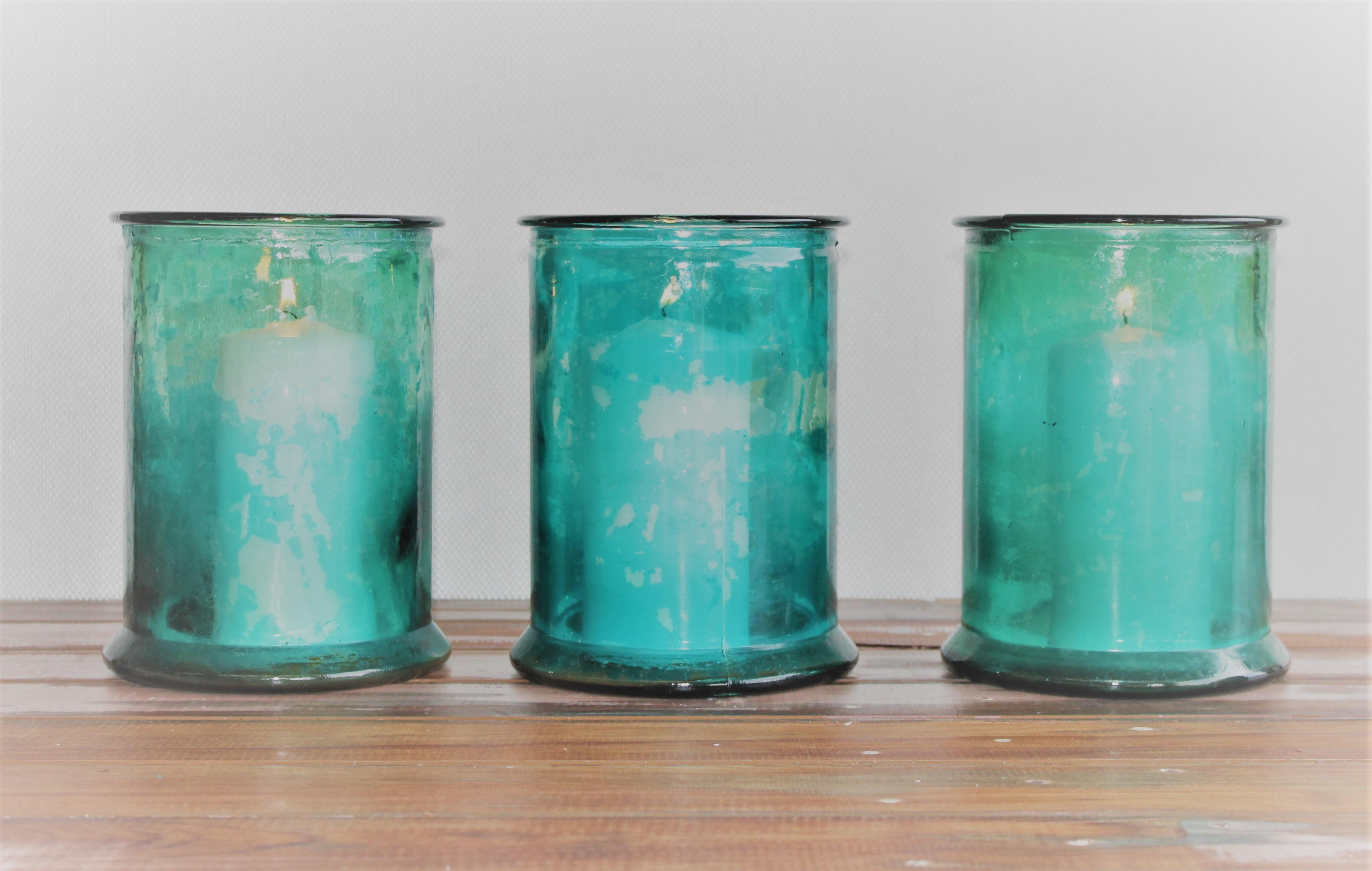 Large Aqua Candle Holders