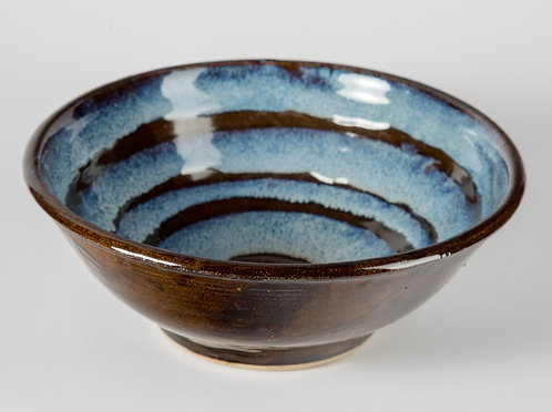 9 inch bowl with blue and black glaze