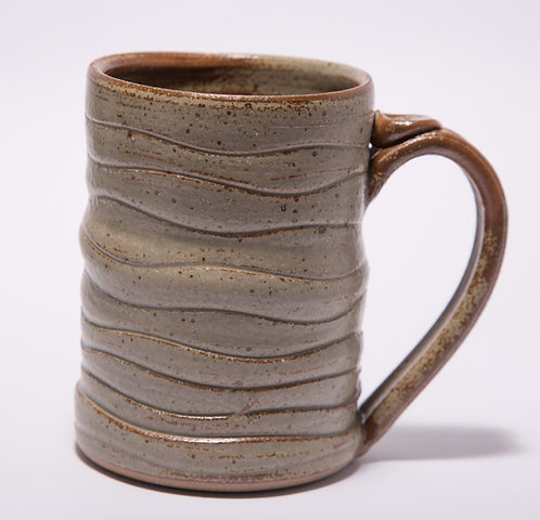 Wonky mug.  12 oz. to 14 oz.  Ash glaze. Microwave & dishwasher safe.