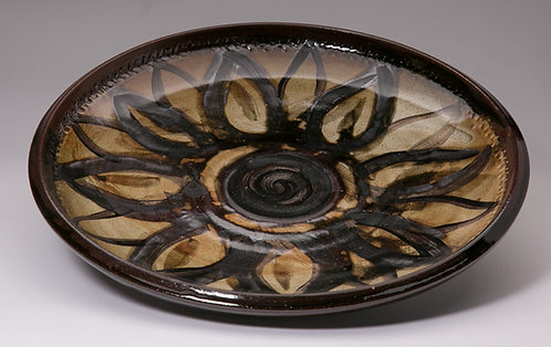 Large 12 inch platter with wax resist flower pattern.