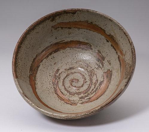9 inch bowl. Shino & ash glaze