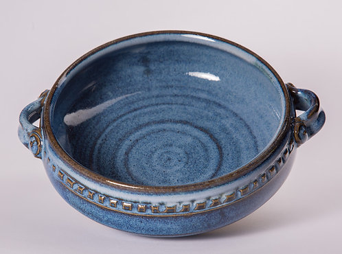 cobalt 9 inch casserole dish with pattern and handles