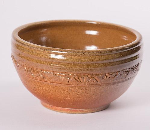 8 inch bowl with ginkgo leaf pattern on side
