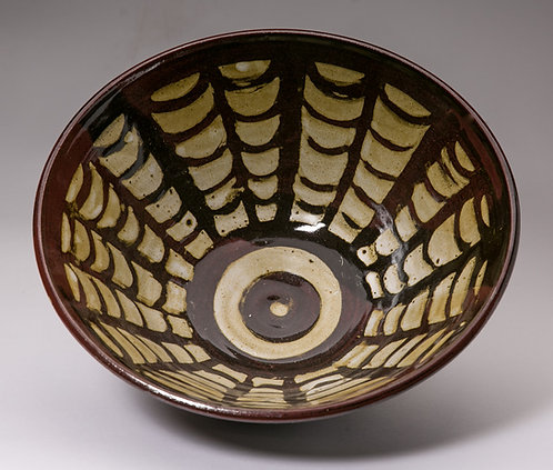"Large 11"" bowl with symmetrical pattern."