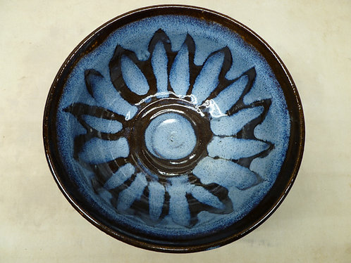7 inch bowl with blue and black glaze