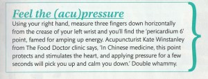 Acupressure can help calm and re-energise during the day
