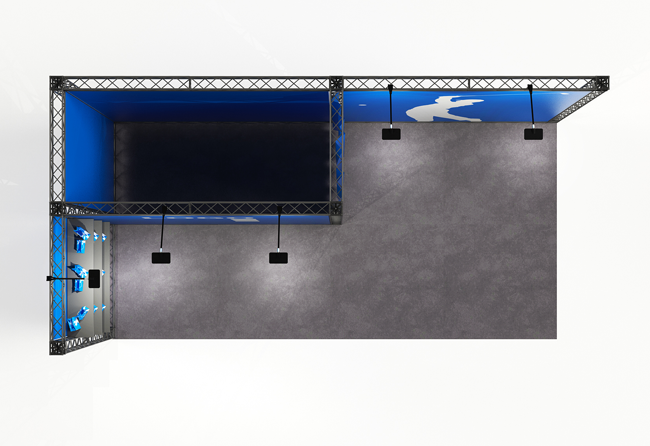 X10 4x2 m Eckstand mit Messekabine und Präsentationsablagen mieten