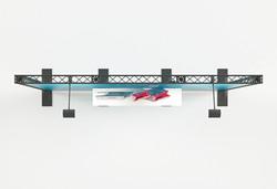 Traversenmessewand 3 m aus leichten X-Module Traversen mit Ablagebord und LED-Beleuchtung