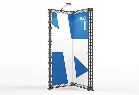 ELMAR KOHLSCHEIN | MESSESTAND - Messesystem X-Module X-10 Crosswire Messetraverse Messewand aus Messetraversen mit Textildruck 1 Meter breit x 1 Meter tief x 2,5 Meter hoch mit LED Beleuchtung