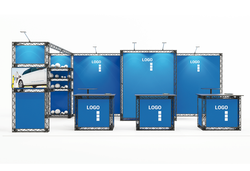 Miet-Messestand Kopfstand 7x3 m inkl. Monitorhaltung, 3 Messetheken, Traversenregal und Kabine