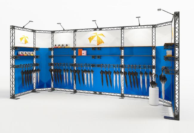 Traversenmessestand Reihenstand 6x2 m mit Regalablagen