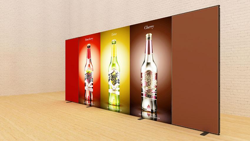 Kluban 5 Meter breite Messewand mit LED-Hinterleuchtung