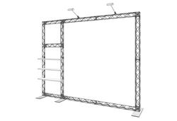 Rendering DIY-Messewand mobil - Messetraversen X-Module Messesystem mit 3 Regalbords