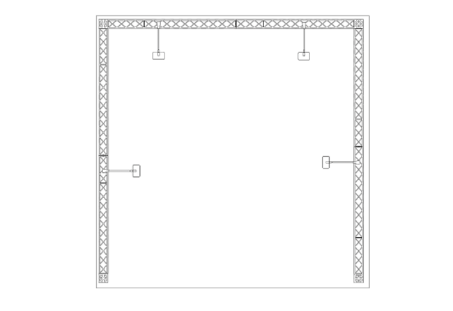 Grundriss mobiler Reihenstand 3 x 3 m aus modularen Messetraversen X10