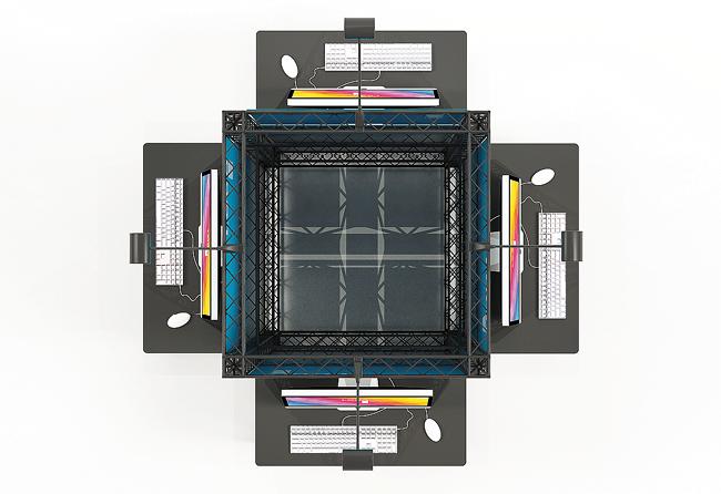 X-Module-Messestandturm mit Arbeitstischen