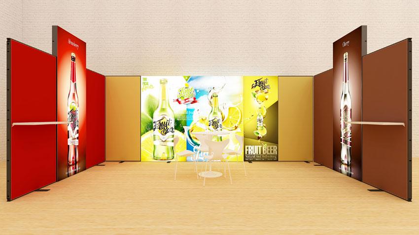 Kluban LED-Messestand Reihenstand mit Lichtwänden und Regalablagen