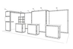 S/W-Zeichnung Miet-Messestand Kopfstand 7x3 m mit TV-Halterung, Kabine und Messecounter