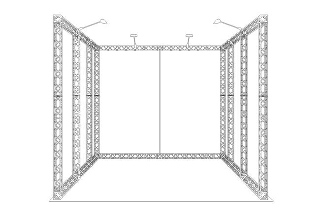 S/W Zeichnung Mietmessestand (Reihenstand) aus X-Module Messetraversen X-10
