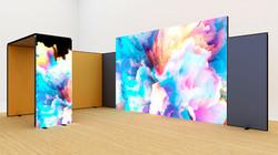 Kluban LED-Messestand 7x4 m Eckstand mit Deckenpanel