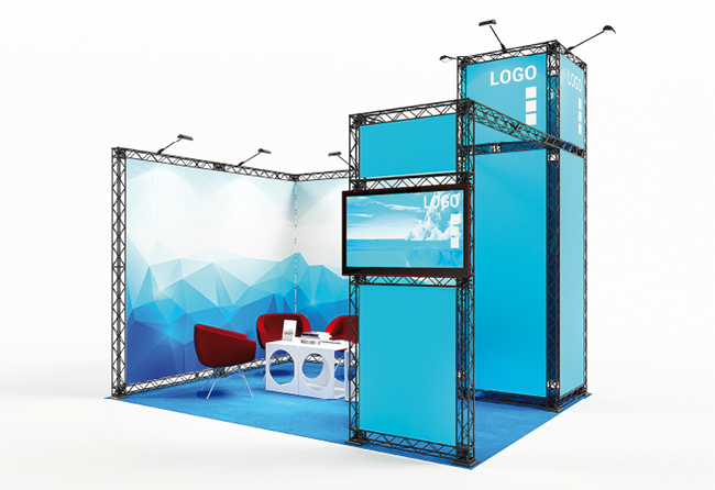 Eck-Messestand 4 x 3 m mit Monitor