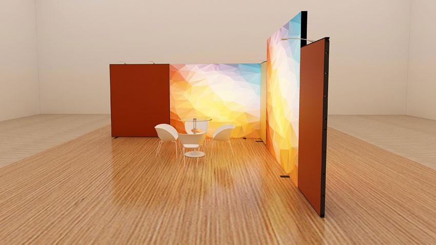 Kluban LED Messesystem 5x5 m Eckstand mit 2 Leuchtwänden in den Seitenwänden