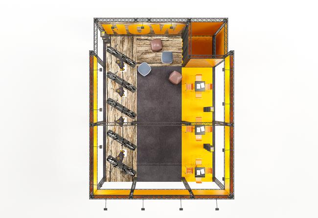 Vogelperspektive auf 6x8 m Messestand X-15 Traversen von X-Module zur Miete