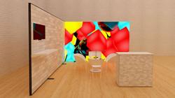 Kluban mobiler LED-Messestand mit Monitor, Theke und Regalablage