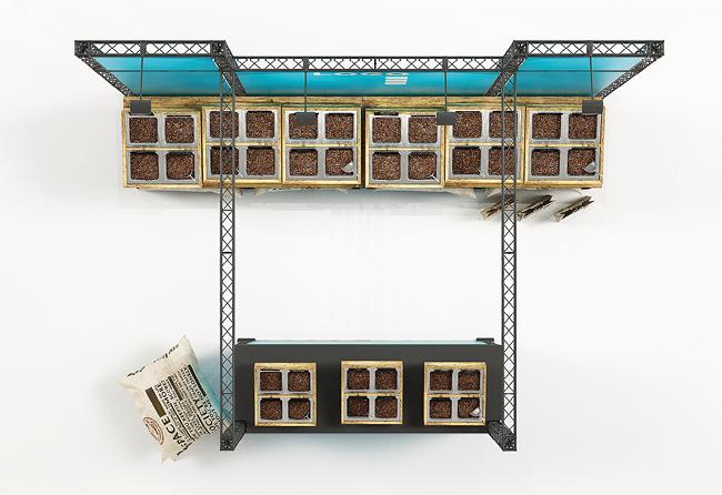 X-Module-Messestand 4x3 m Kopfstand