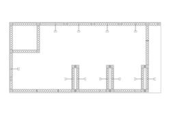 Grundriss Eckstand X-15 modulare Messetraversen inkl. Messekabine