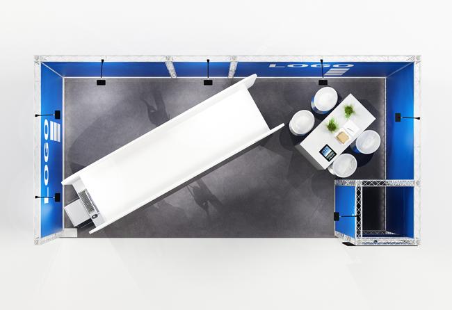 Blick von oben auf 6 x 3 m Reihenstand aus weißen Messetraversen