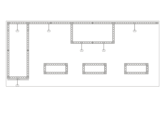 Skizze Draufsicht auf 7x3 m Mietmessestand als Kopfstand aus X-10 Messetraversen