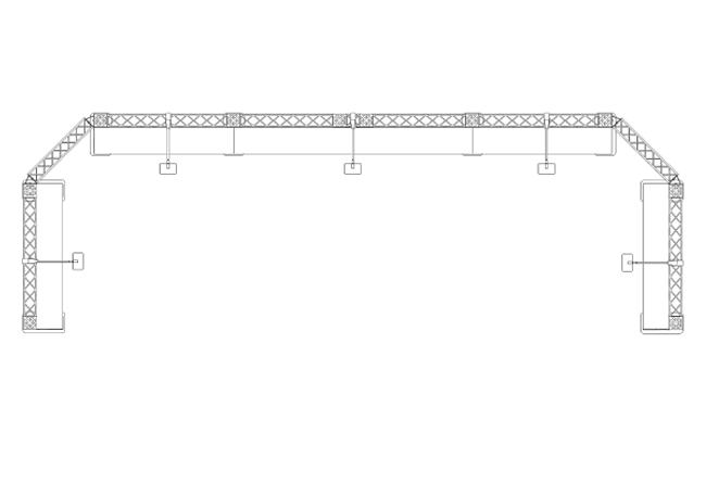 Grundriss S/W Reihenstand 6x2 m Minitruss-Messestand mit Präsentationsregalen