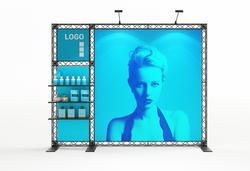 Mobile Messewand Traverse X10 3 m breit mit LED-Leuchtkasten Modul, 3 Ablagen, Textildruckgrafiken