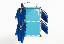 Hausmessestand Eckstand Fashion aus Traversenelementen auch für Ihre Messeteilnahme im Außenbereich