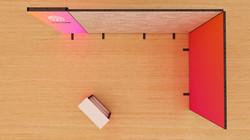 Kluban-by-Luban-Messesystem Eckstand mit LED-Leuchtwand und Messetheke