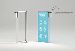 Kohlschein mobiles LED-Display. Rahmen mit Textildruckgrafik und Desinfektionsmittelspender